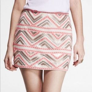 Express sequin printed tribal geometric skirt